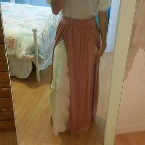 Long pink Double Split Skirt